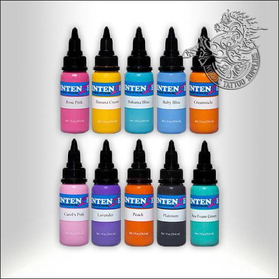 Intenze 10 Pastel Color Tattoo Ink Set, 30ml (1oz) Bottles