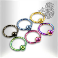 Titanium Ball Closure Rings, 1,2mm, Anodized