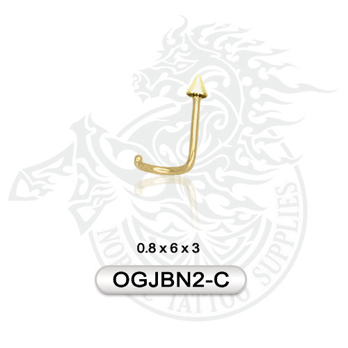 Nose Stud With Spike 14k Gold Nordic Tattoo Supplies