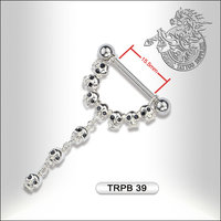 Surgical Steel Nipple Barbell With Skulls
