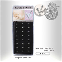 Surgical Steel Nose Studs, 24pcs