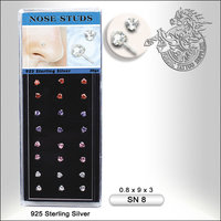 925 Sterling Silver Nose Studs, 24pcs