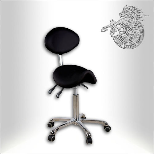 Saddle stool with back rest, Black