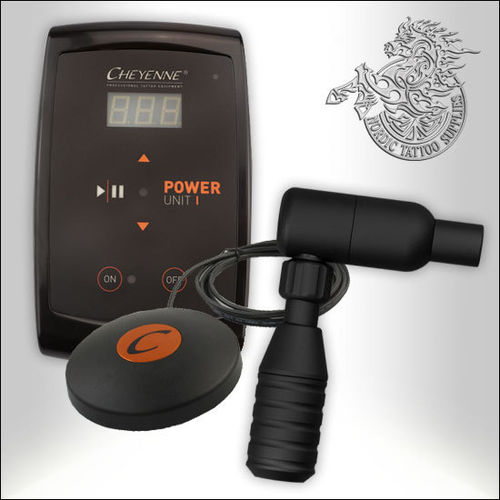 Cheyenne Hawk Tattoo Machine, Black + PU-I Power Supply + Footswitch