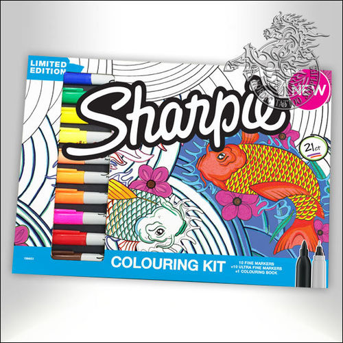 Sharpie Marker Aqua Coloring Kit, 20 Markers + Coloring Book