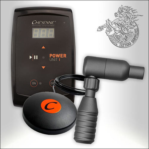 Cheyenne Hawk Tattoo Machine, Anthracite + PU-I Power Supply + Footswitch