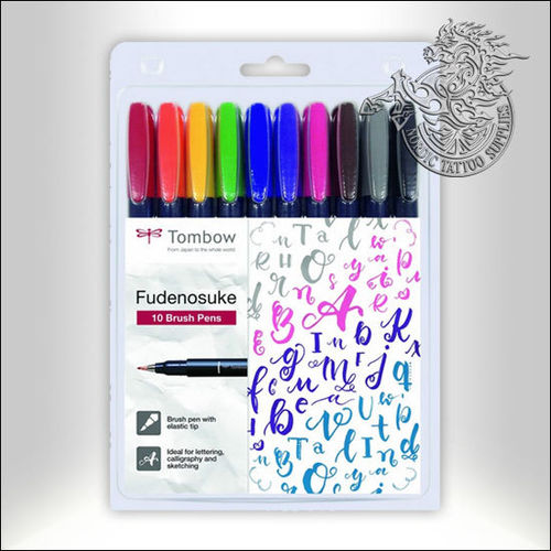 Tombow Brush Pen Fudenosuke Colors 10-Pack