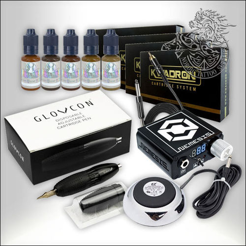 Glovcon Pen Starter Set with Nemesis Power Supply, Kwadron Cartridges and Permablend Pigments