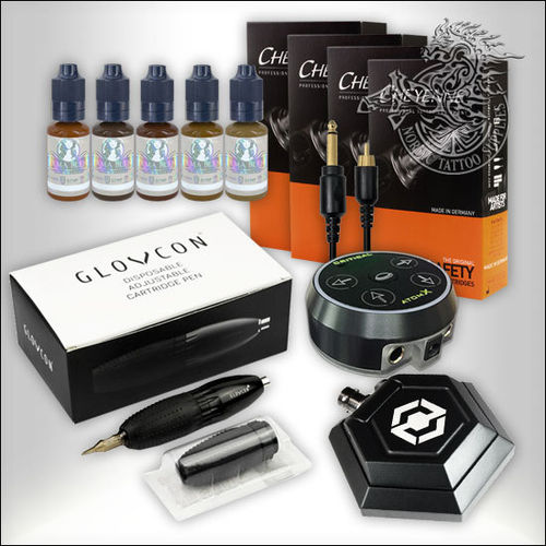 Glovcon Pen Starter Set with Atom X Power Supply, Cheyenne Cartridges and Permablend Pigments