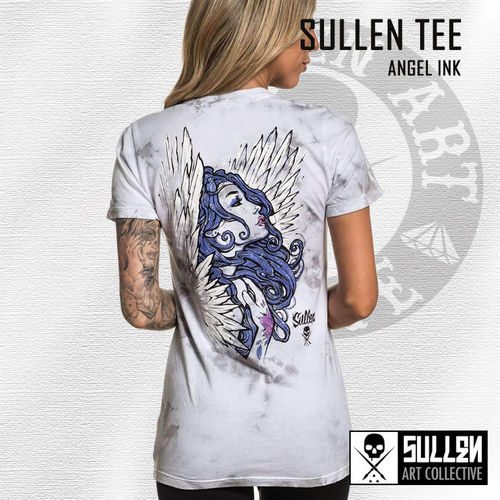 Sullen Angels - Angel Ink Tee - White/Grey Ice Wash