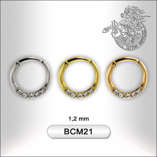 Surgical Steel Click Style Segment Ring with Jewelled Design