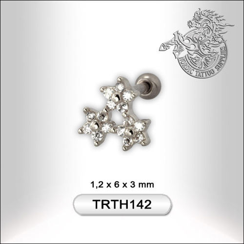 Surgical Steel Helix Barbell with Flower Design 1,2mm/6mm/3mm, Rhodium/Crystal
