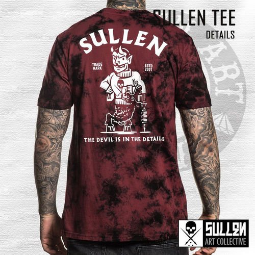 Sullen - Details Tee - Black/Rosewood Red Crystal Wash