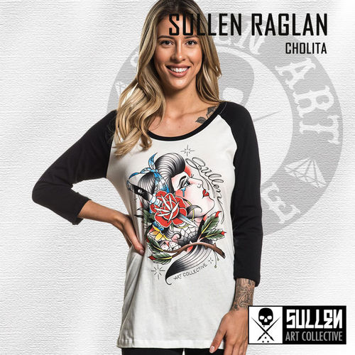 Sullen Angels - Cholita Raglan - Antique White/Black