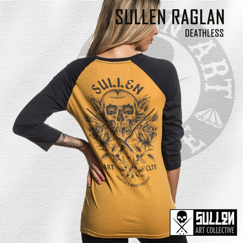 Sullen Angels - Deathless Raglan - Mustard/Grey