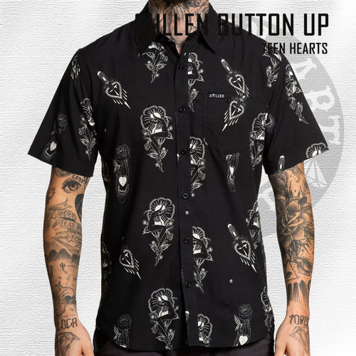 Sullen - Teen Hearts Button Up - Black
