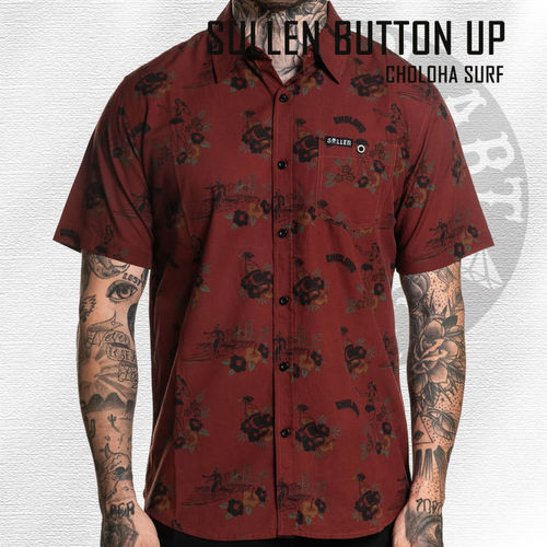 Sullen - Choloha Surf Button Up - Burgundy