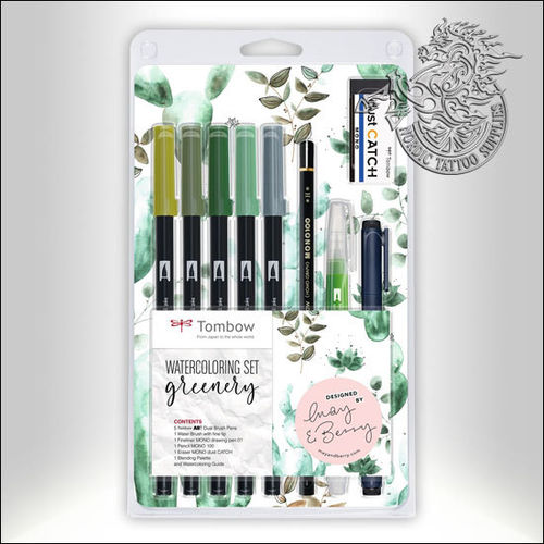 Tombow ABT Dual Brush Watercoloring Set - Greenery