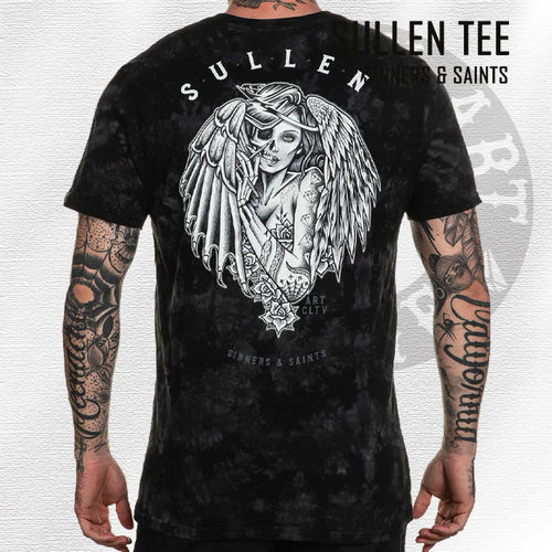 Sullen - Sinners & Saints Tee - Black&Grey Crystal Wash