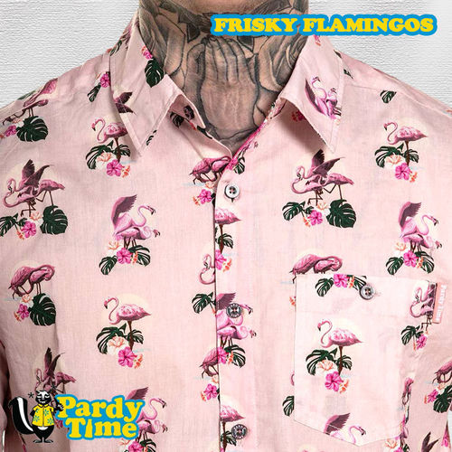 Pardy Time - Frisky Flamingos Button Up - Pink