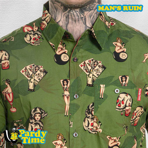 Pardy Time - Man's Ruin Button Up - Olive Green